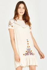 Apricot Embroidered Babydoll Hem Dress