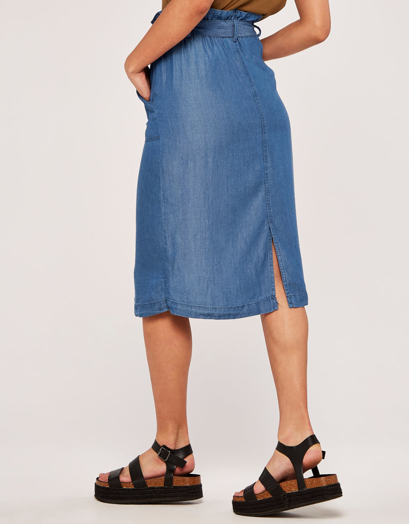 Apricot Denim Paperbag Button Skirt