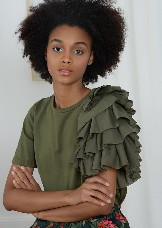 Molly Bracken Knitted Tee with Ruffle detail