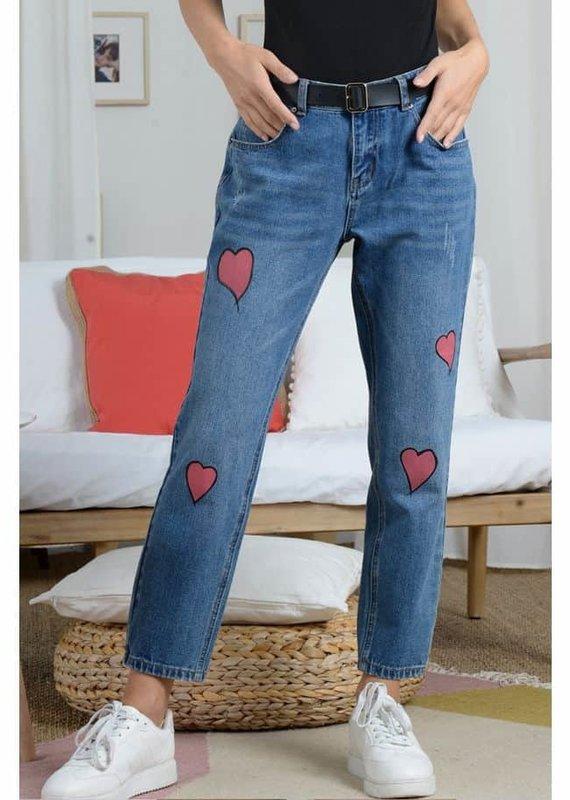 Molly Bracken Woven Denim Pants with Heart