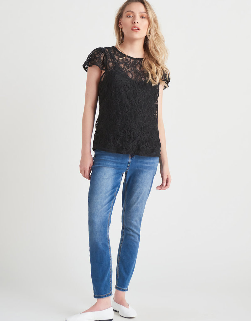 Black Tape / Dex Lace top with Shoulder Ruffle