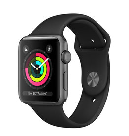 APPLE APPLE WATCH SERIES 3 GPS, 42MM SPACE GRAY ALUMINUM CASE W/ BLACK SPORT BAND