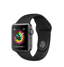APPLE APPLE WATCH SERIES 3 GPS, 38MM SPACE GRAY ALUMINUM CASE W/ BLACK SPORT BAND
