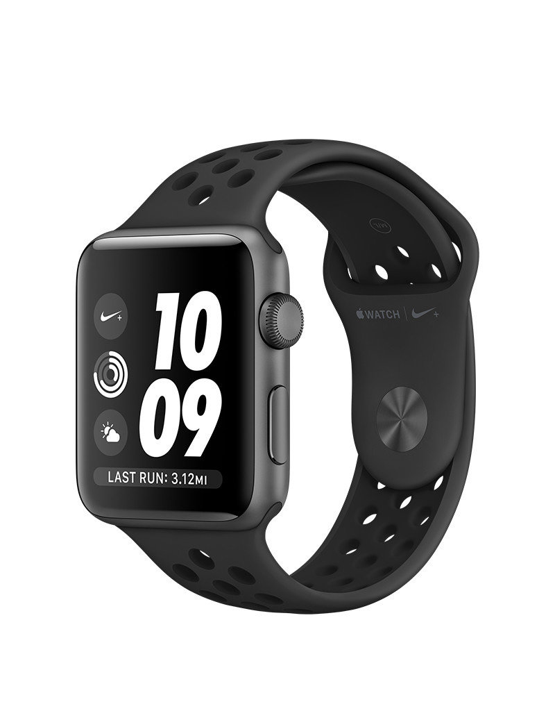 APPLE APPLE WATCH NIKE SERIES 3 GPS, 42MM SPACE GRAY ALUMINUM CASE W/ ANTHRACITE/BLACK NIKE SPORT BAND