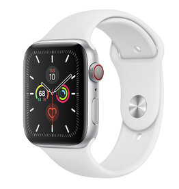 APPLE APPLE WATCH SERIES 5 GPS + CELLULAR, 44MM SILVER ALUMINUM CASE WITH WHITE SPORT BAND
