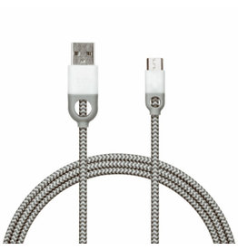 IHOME IHOME NYLON MICRO USB CHARGE AND SYNC CABLE - WHITE 10FT USB TO MICRO USB