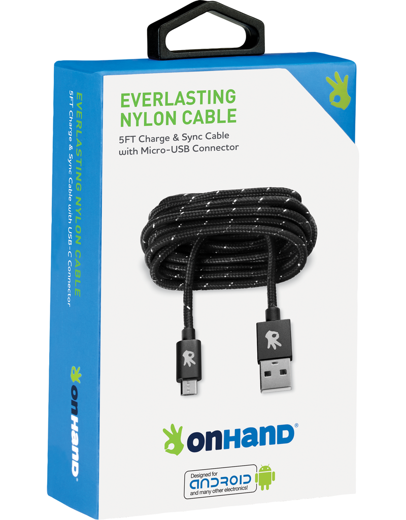 ONHAND ONHAND CHARGING CABLE - BLACK USB - MICRO USB - 5FT