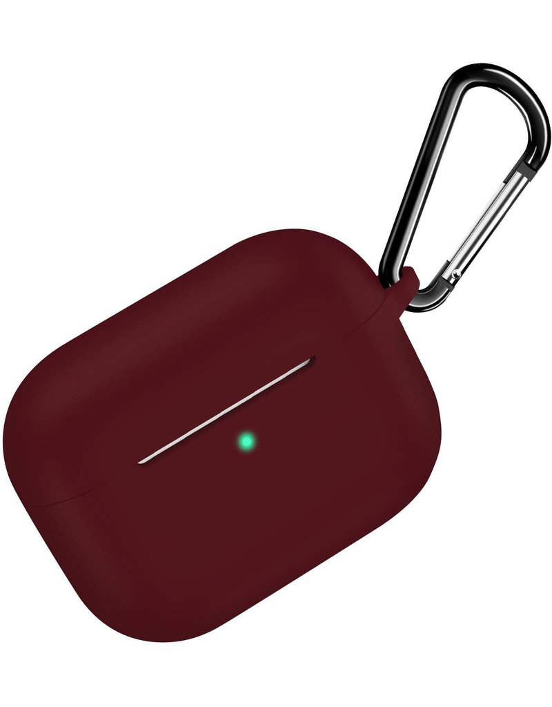 CTPEPPER AIRPODS PRO SILICONE CASE WITH HINGE KEYCHAIN MAROON