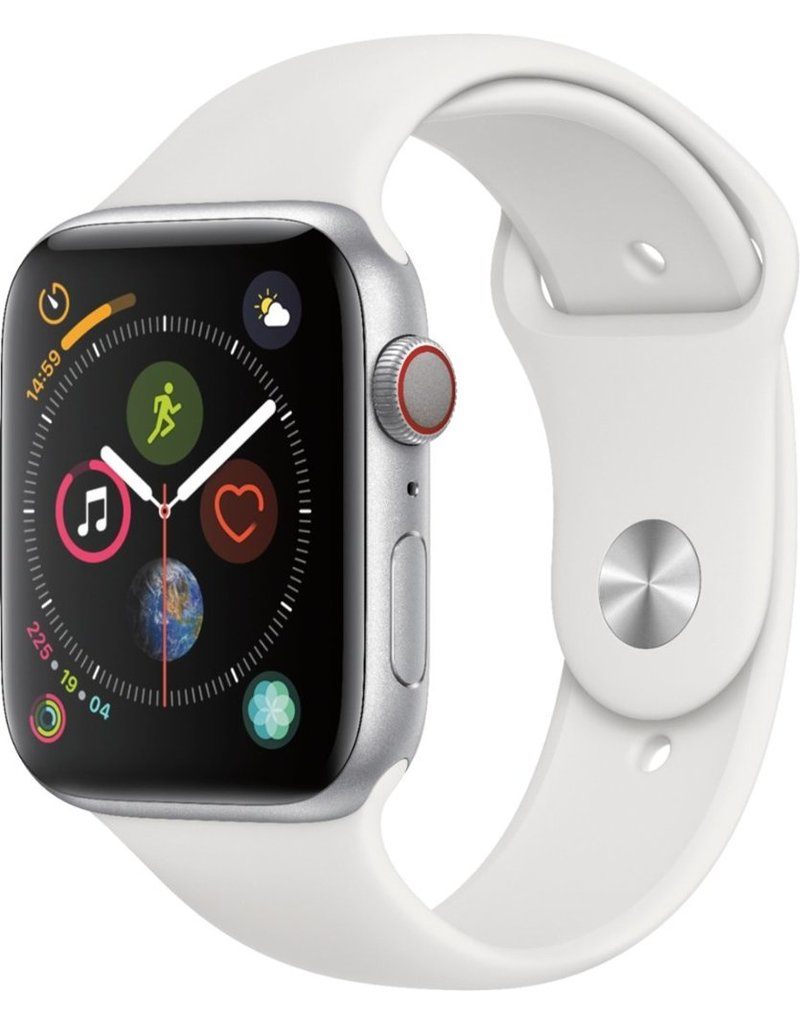 APPLE APPLE WATCH SERIES 4 44MM CELL ALUM SILVER CASE WHITE BAND