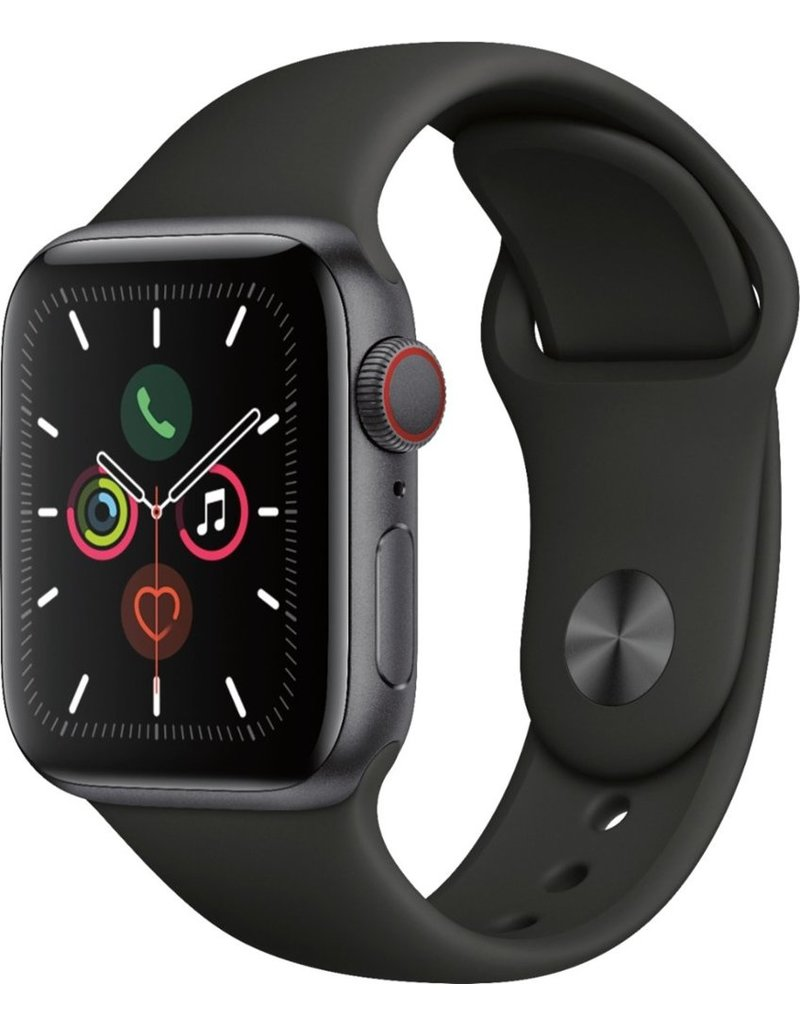 APPLE APPLE WATCH SERIES 5 GPS + CELLULAR, 40MM SPACE GRAY ALUMINUM CASE WITH BLACK SPORT BAND - S/M & M/L