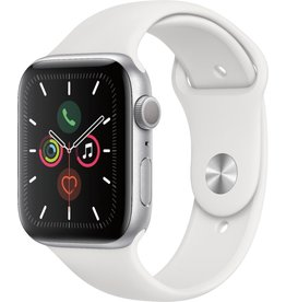 APPLE APPLE WATCH SERIES 5 GPS, 44MM SILVER ALUMINUM CASE WITH WHITE SPORT BAND - S/M & M/L
