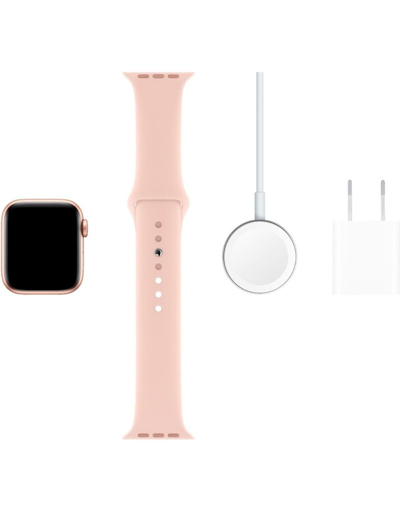 APPLE APPLE WATCH SERIES 5 GPS, 40MM GOLD ALUMINUM CASE WITH PINK SAND SPORT BAND - S/M & M/L