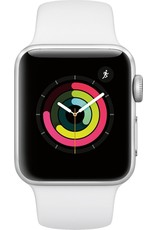 APPLE APPLE WATCH SERIES 3 GPS, 38MM SILVER ALUMINUM CASE W/ WHITE SPORT BAND