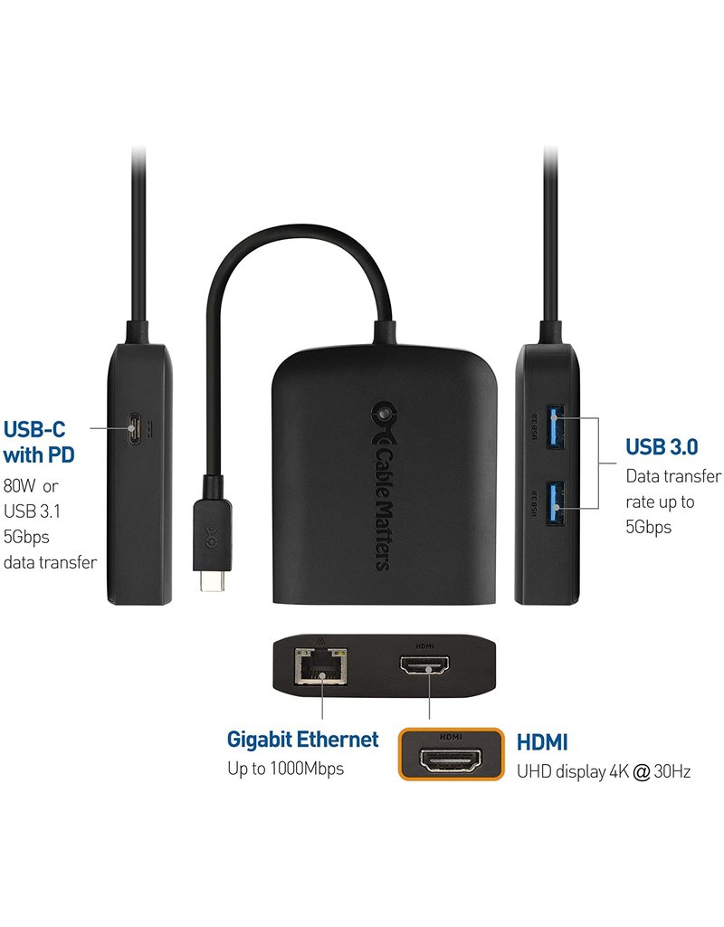 CABLE MATTERS CABLE MATTERS USB-C MULTIPORT ADAPTER USB-C/ENET/USB/HDMI