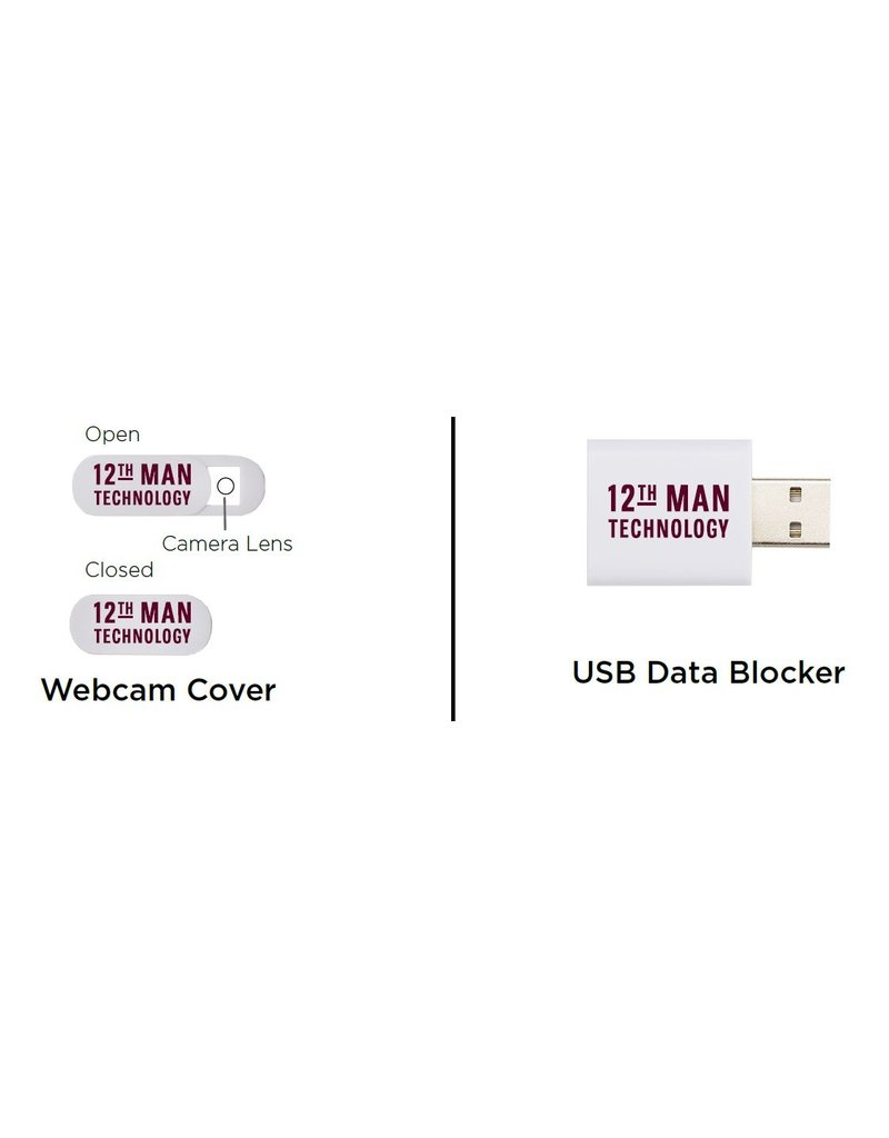 12TH MAN TECHNOLOGY 12TH MAN TECHNOLOGY EXCLUSIVE LAPTOP PRIVACY 2-PACK CAMERA COVER AND USB PROTECTOR