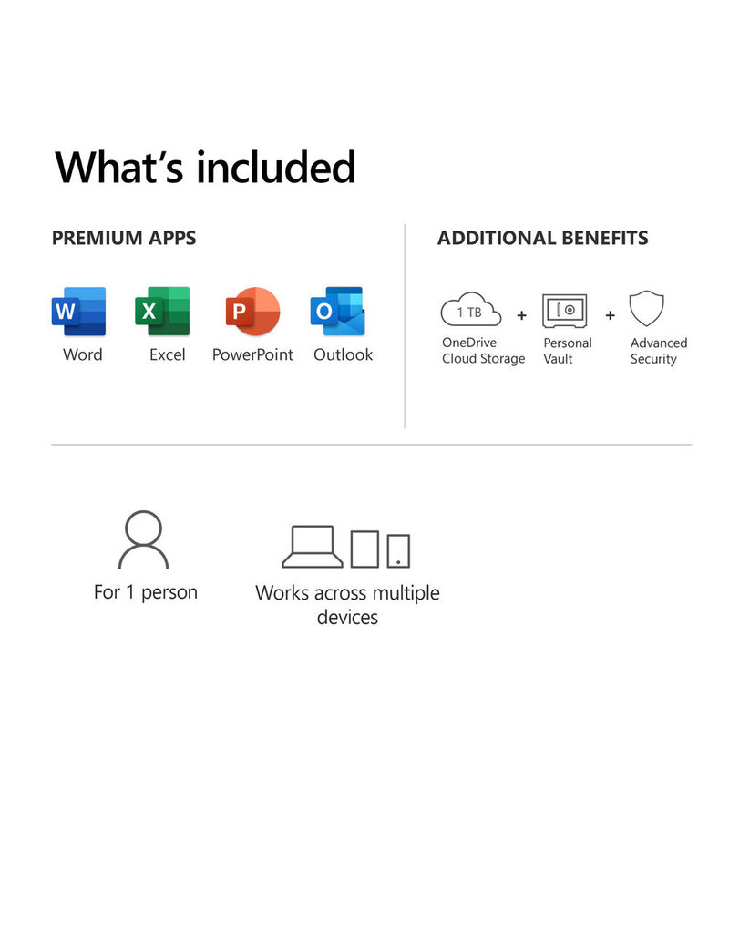 MICROSOFT OFFICE 365 PERSONAL 1-YEAR SUBSCRIPTION