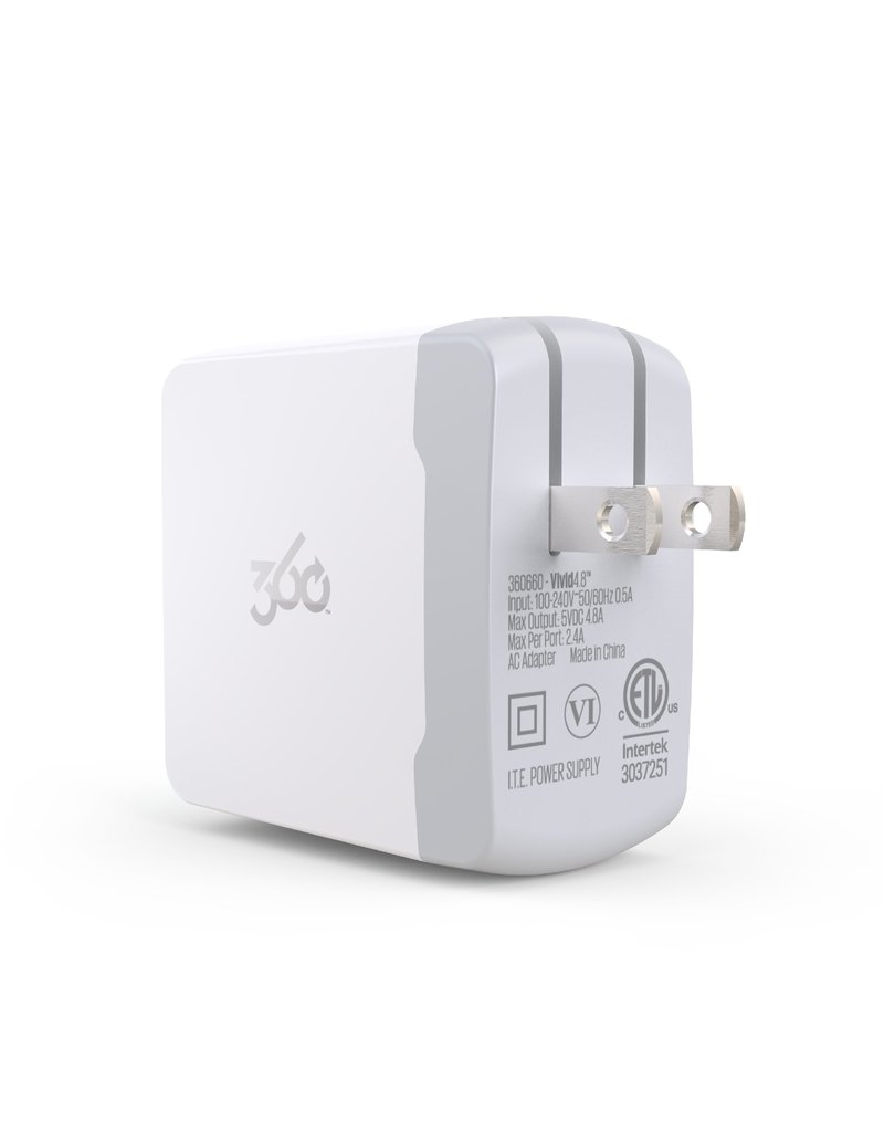 360 ELECTRICAL 360 ELECTRICAL VIVID 4.8 2-PORT WALL CHARGER