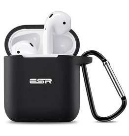 CTPEPPER AIRPODS SILICONE CASE WITH HINGE KEYCHAIN BLACK
