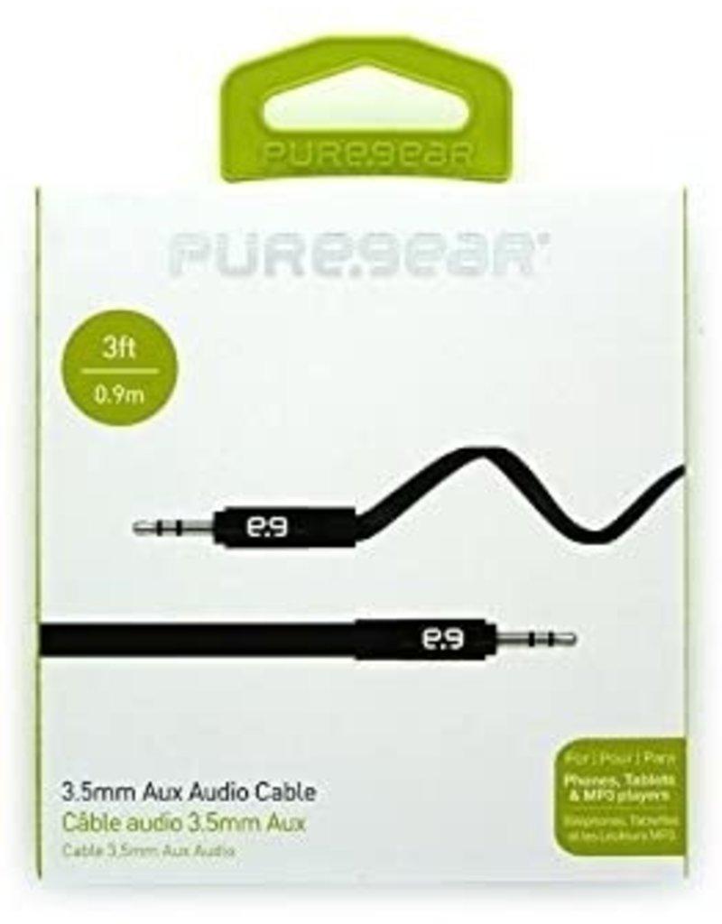 PUREGEAR PUREGEAR AUX AUDIO CABLE - BLACK 3.5MM AUDIO JACK - 3FT