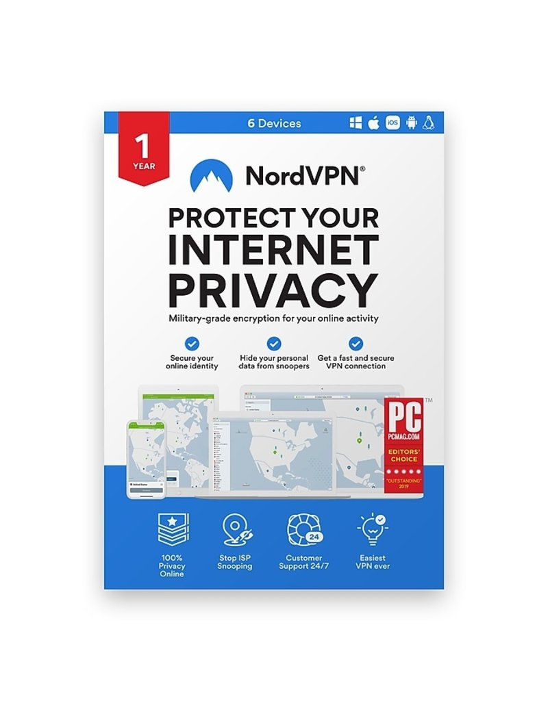 NORD VPN INTERNET PRIVACY SOFTWARE 12 MONTH SUBSCRIPTION / UP TO 6 DEVICES