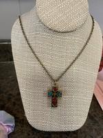 Multi colored cross pendant necklace