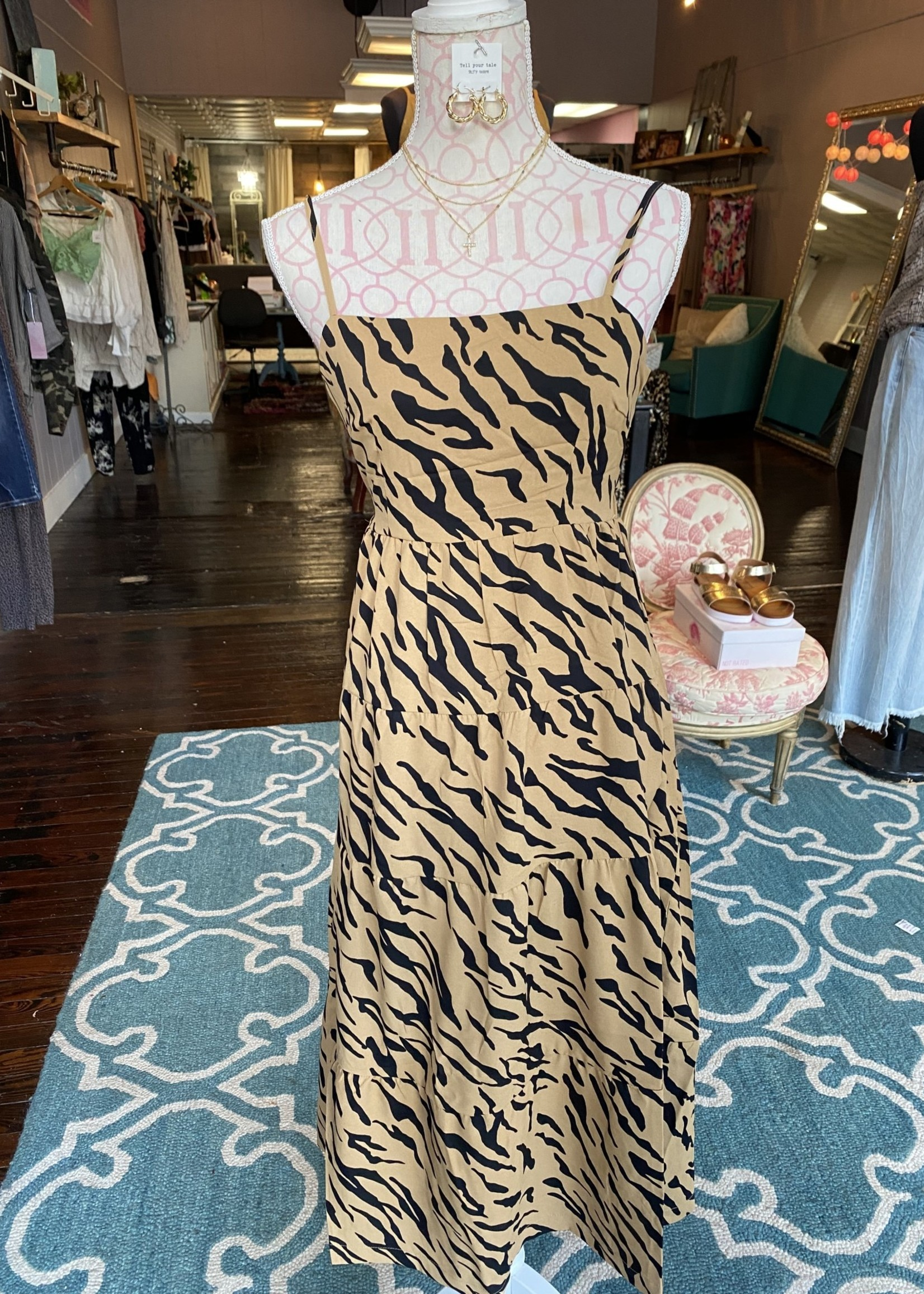 Zebra printed midi dress