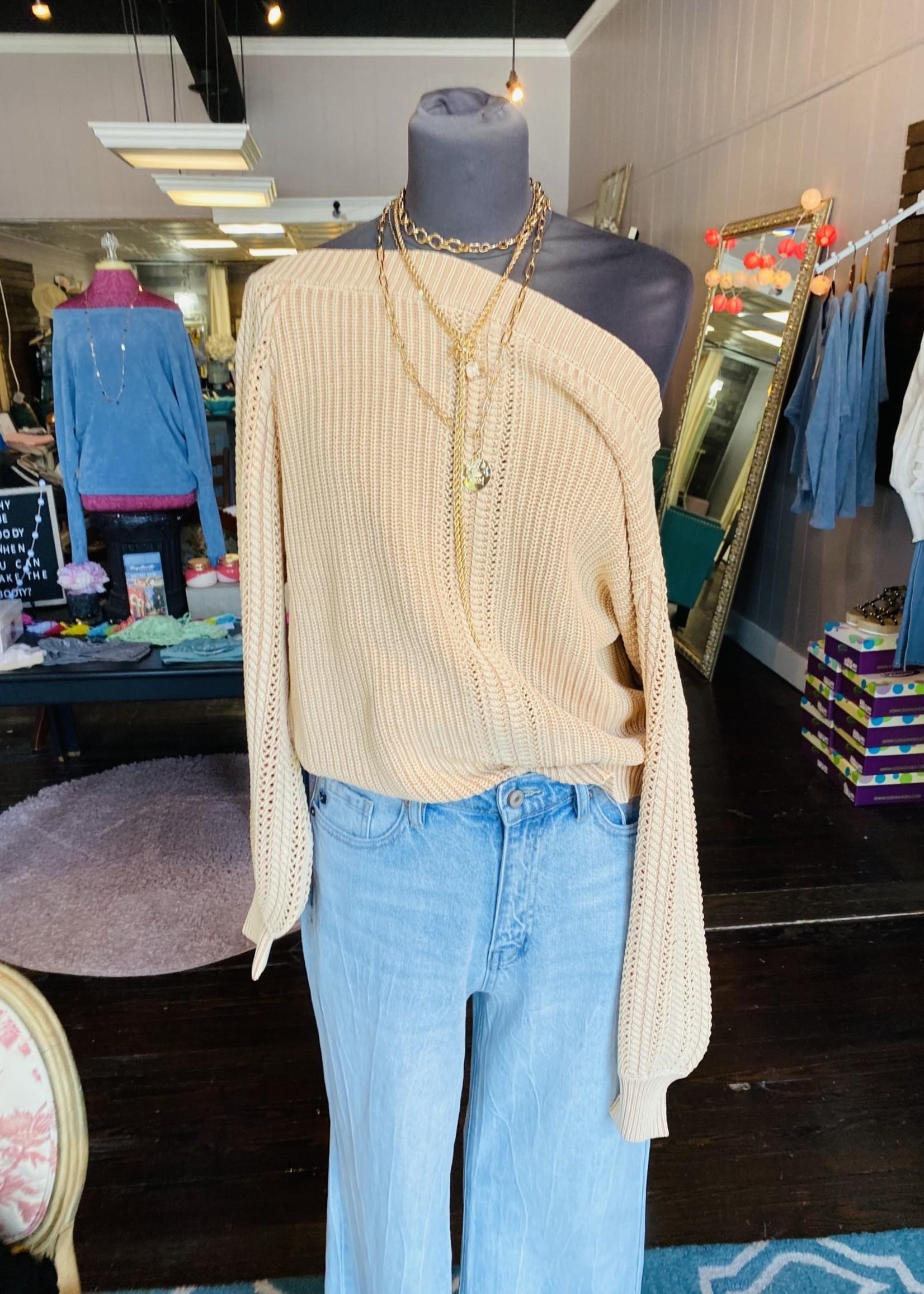 Off-shoulder cable knit top