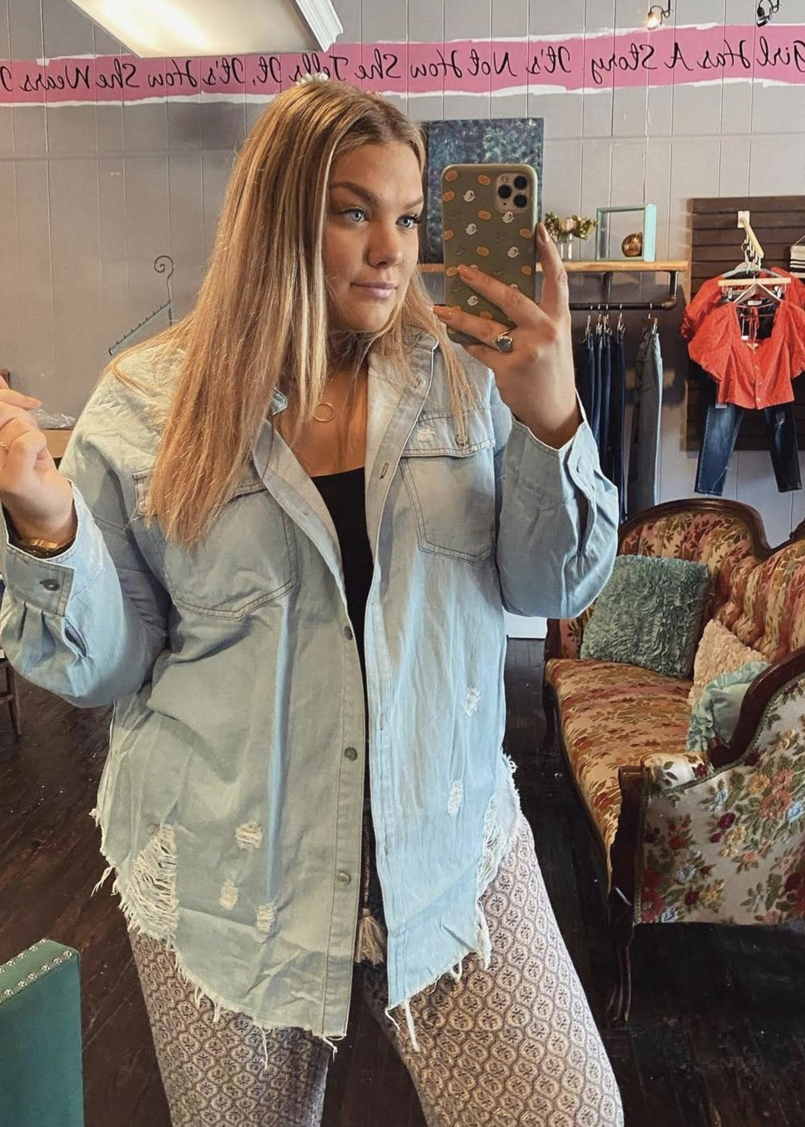 Button chambray distressed shirt