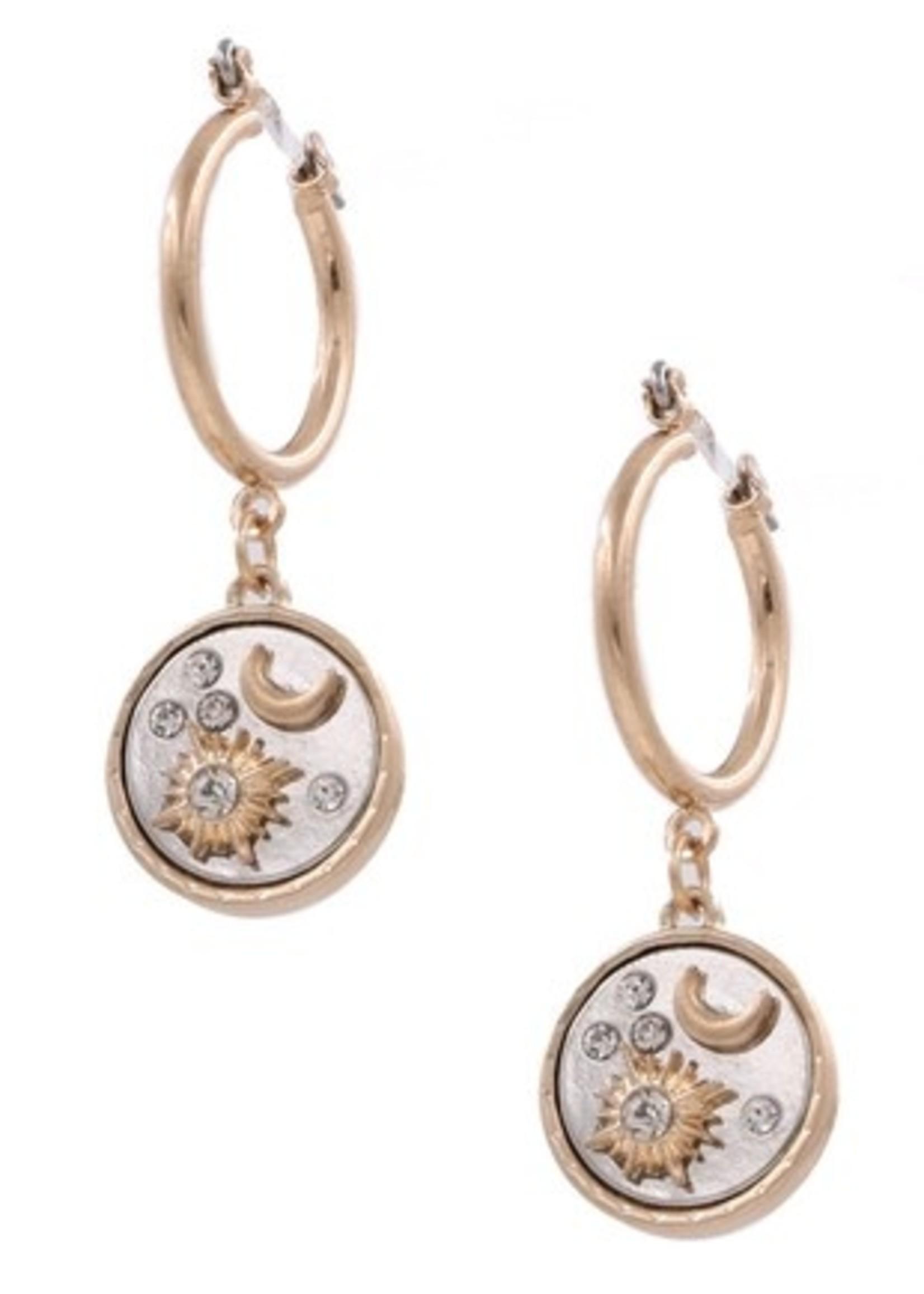 Crescent sun moon earrings