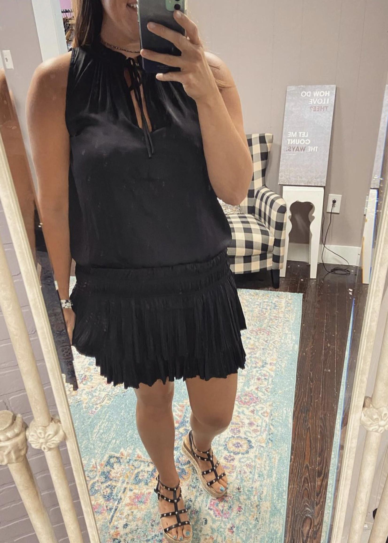 Satin sleeveless pleated dress