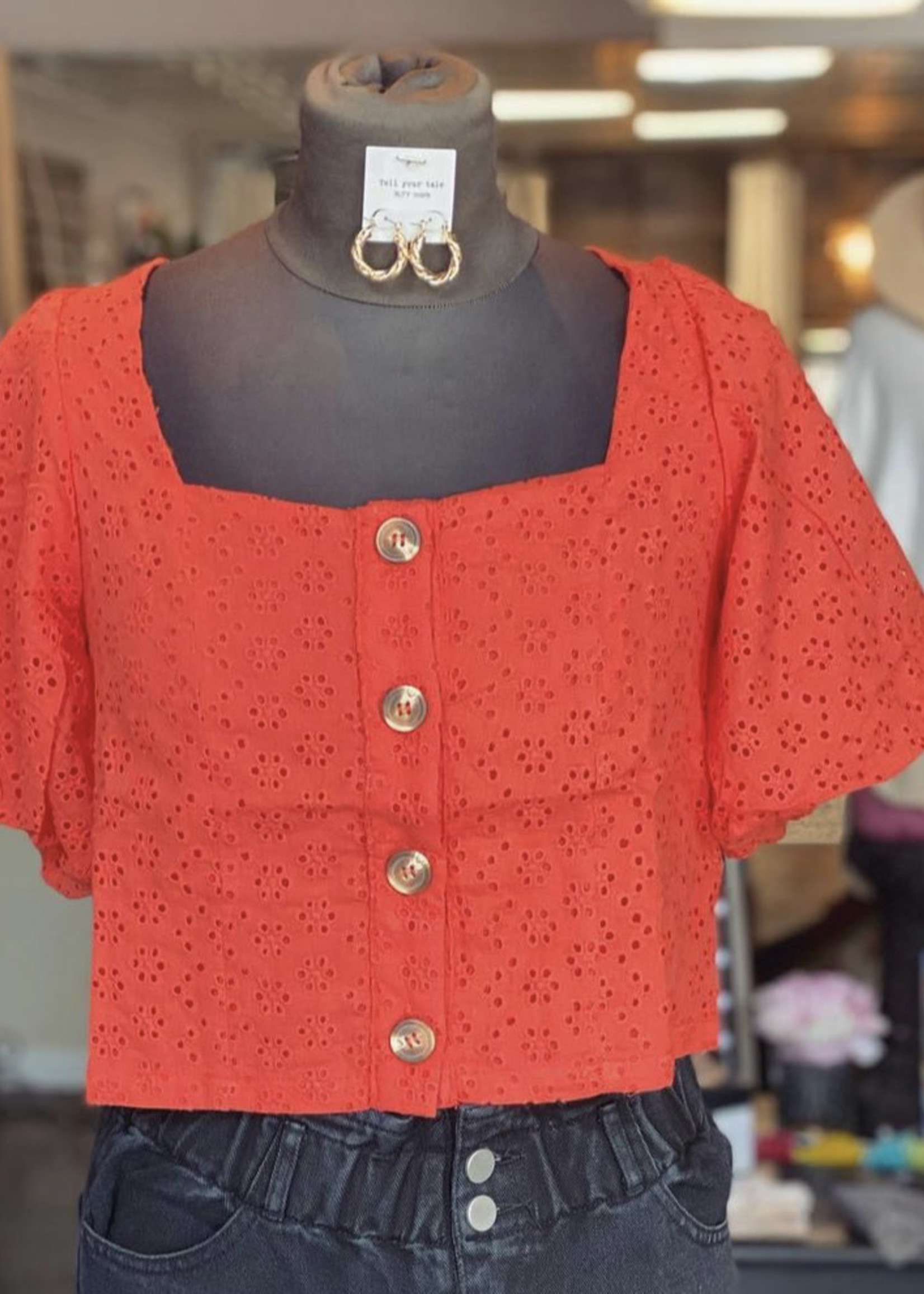 Hyfive Blood orange puff sleeve top