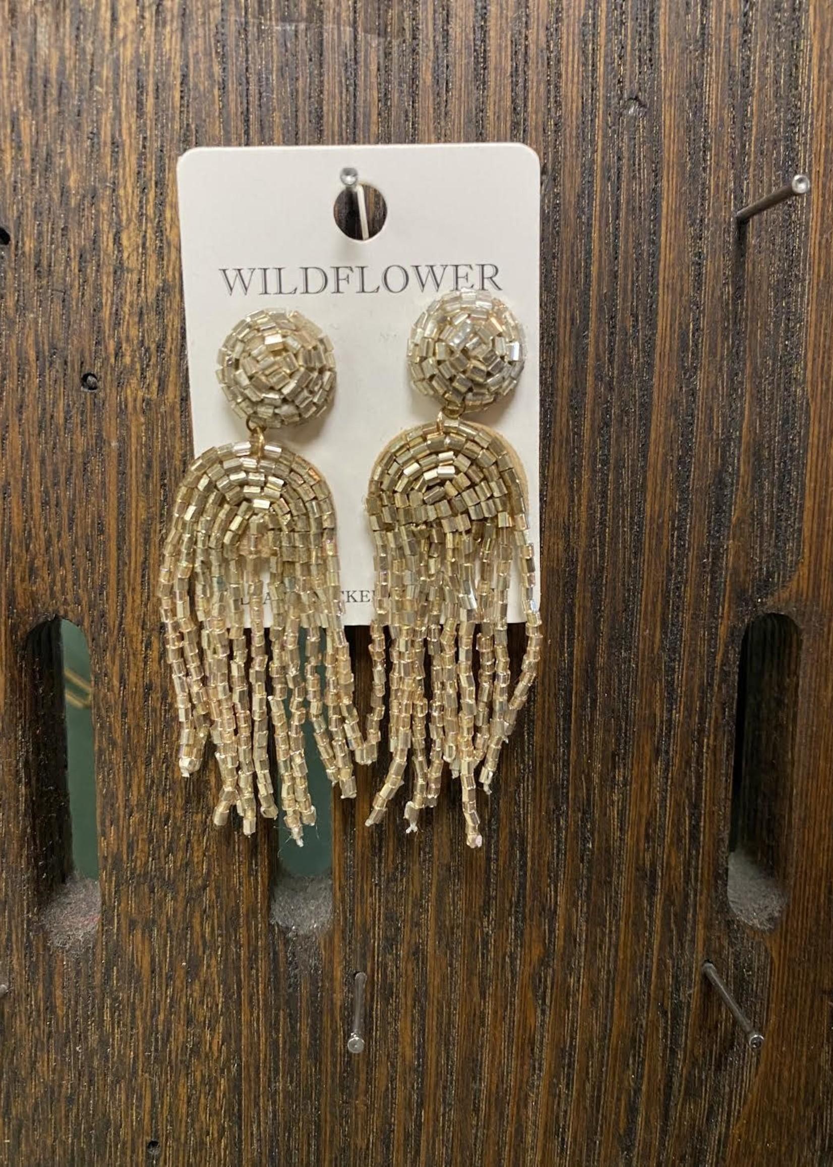 Gold seed bead dangle earrings