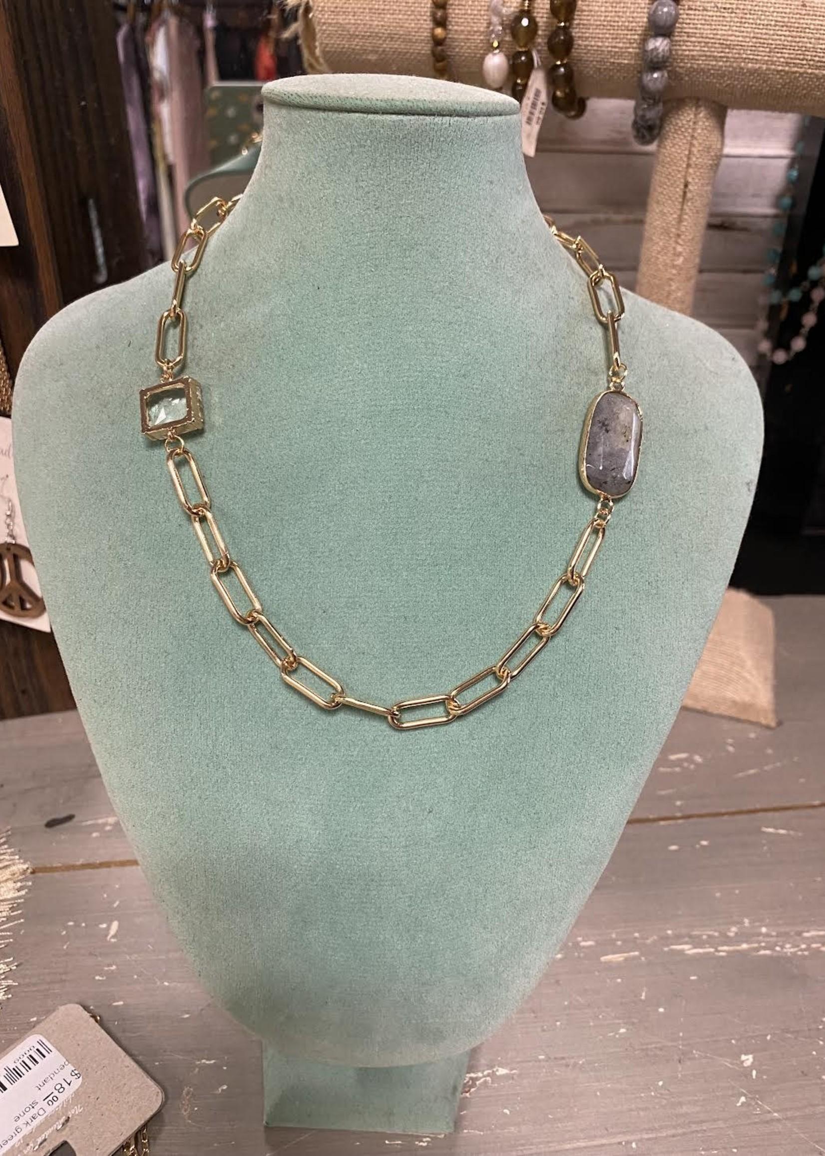 Gray stone pendant chain