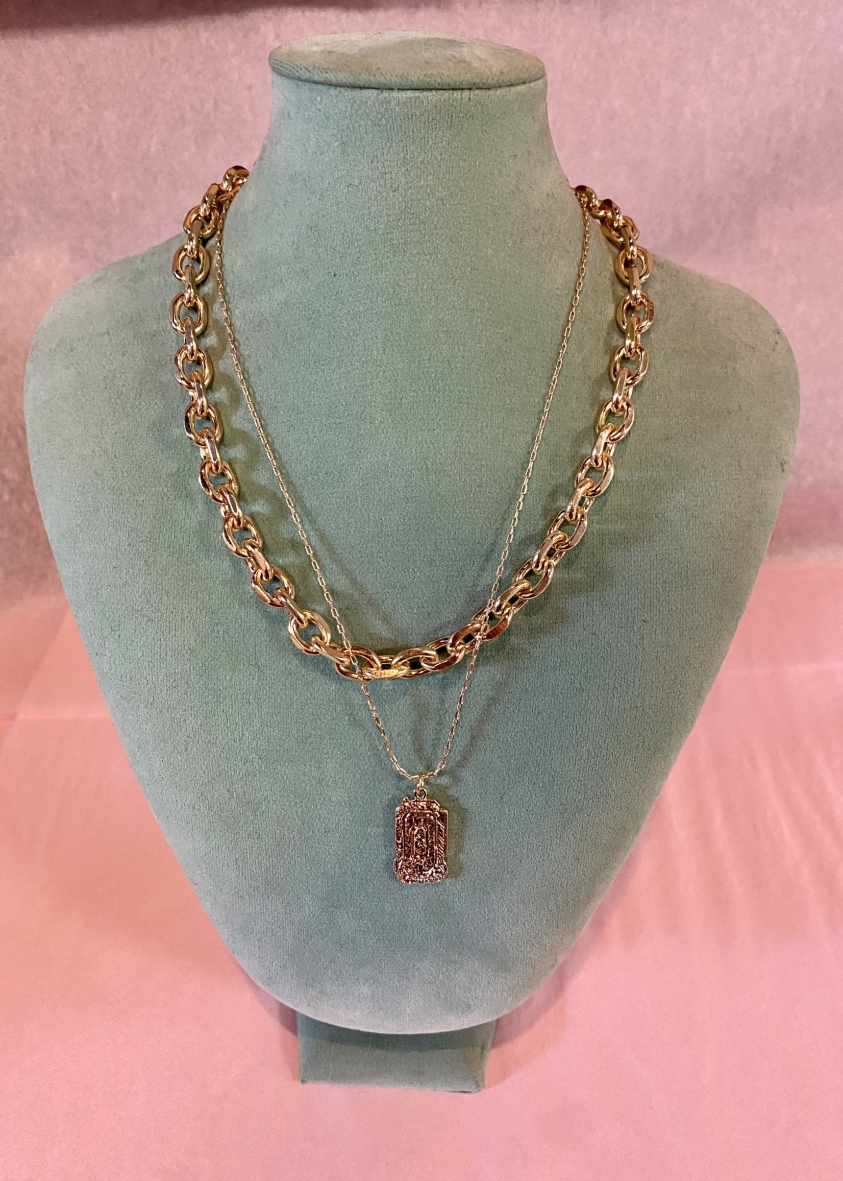 Metal Rectangle Chain Necklace