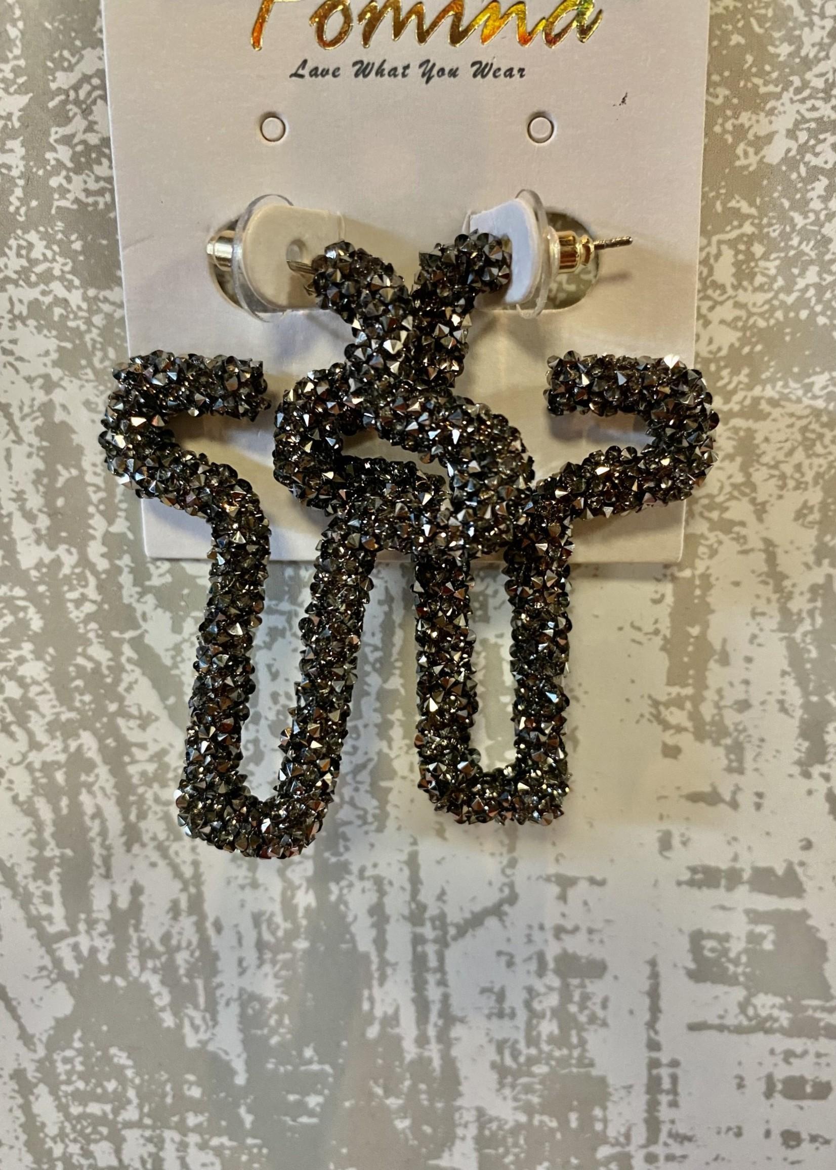 Hematite Jewel Cross Earrings