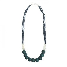 Global Mamas Abacus Teal Recycled Glass Necklace