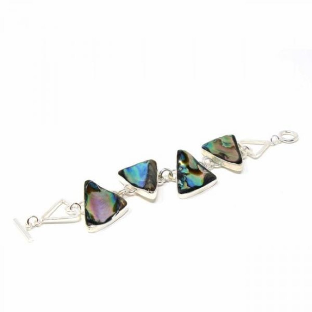 Global Crafts Abalone Triangles Silver Bracelet