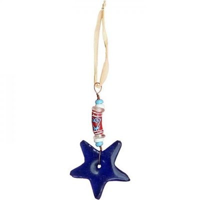 Global Mamas Adinkra Star Blue Sankofa Ornament