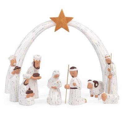 Ten Thousand Villages Albesia Wood 9 Piece Nativity