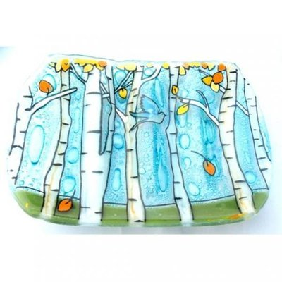 PamPeana Aspen Trees Fused Glass Soap Dish
