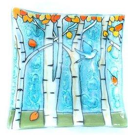 PamPeana Aspen Trees Fused Glass Square Dish