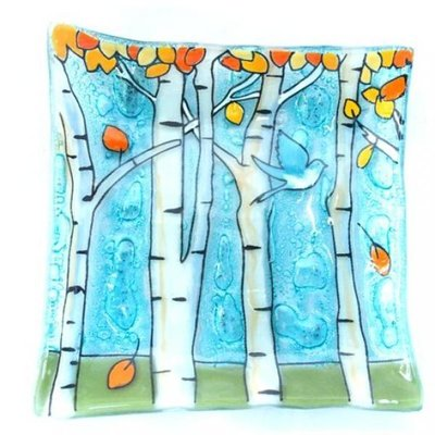 PamPeana Aspen Trees Fused Glass Square Dish