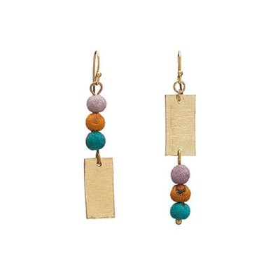 World Finds Asymmetric Kantha Bead Earrings
