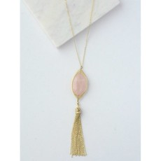 Fair Anita Barbara Rose Quartz Gold Tassel Necklace