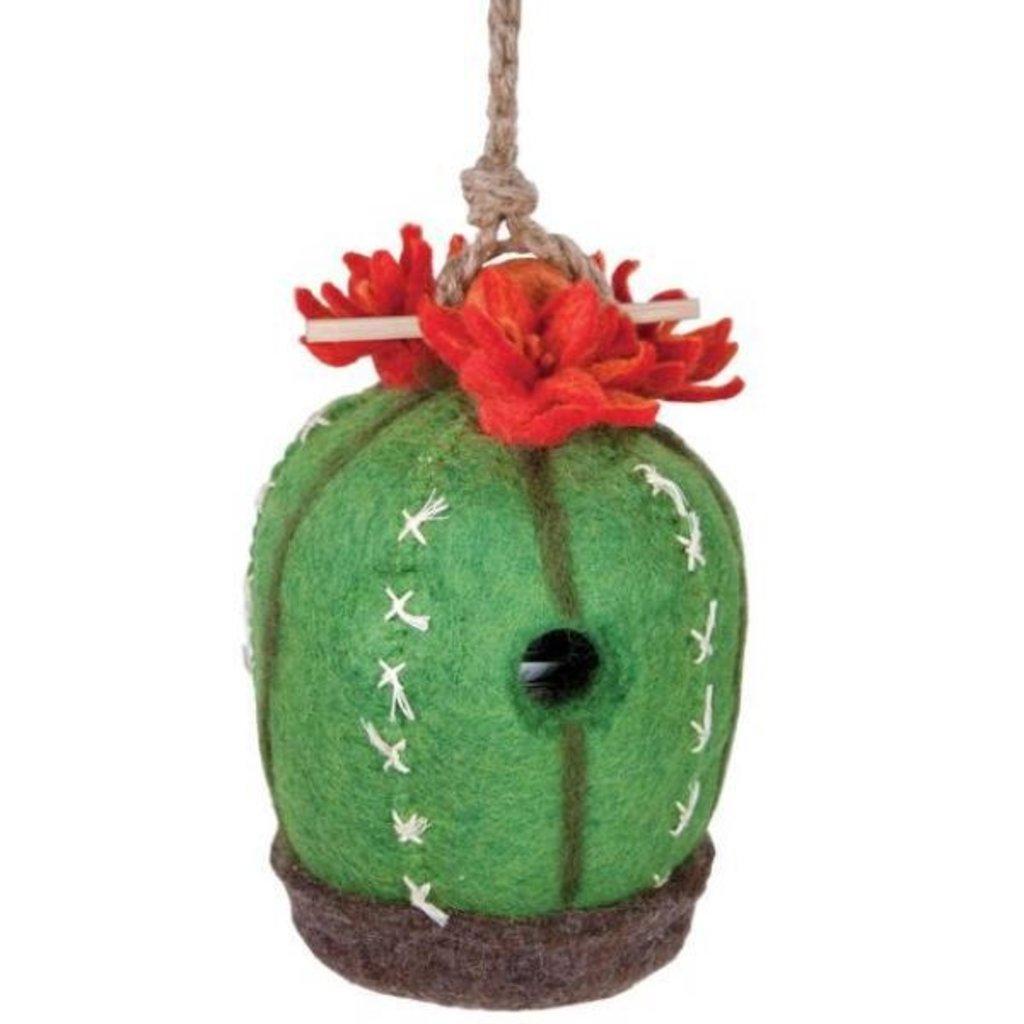 DZI Handmade Barrel Cactus Wool Felt Birdhouse