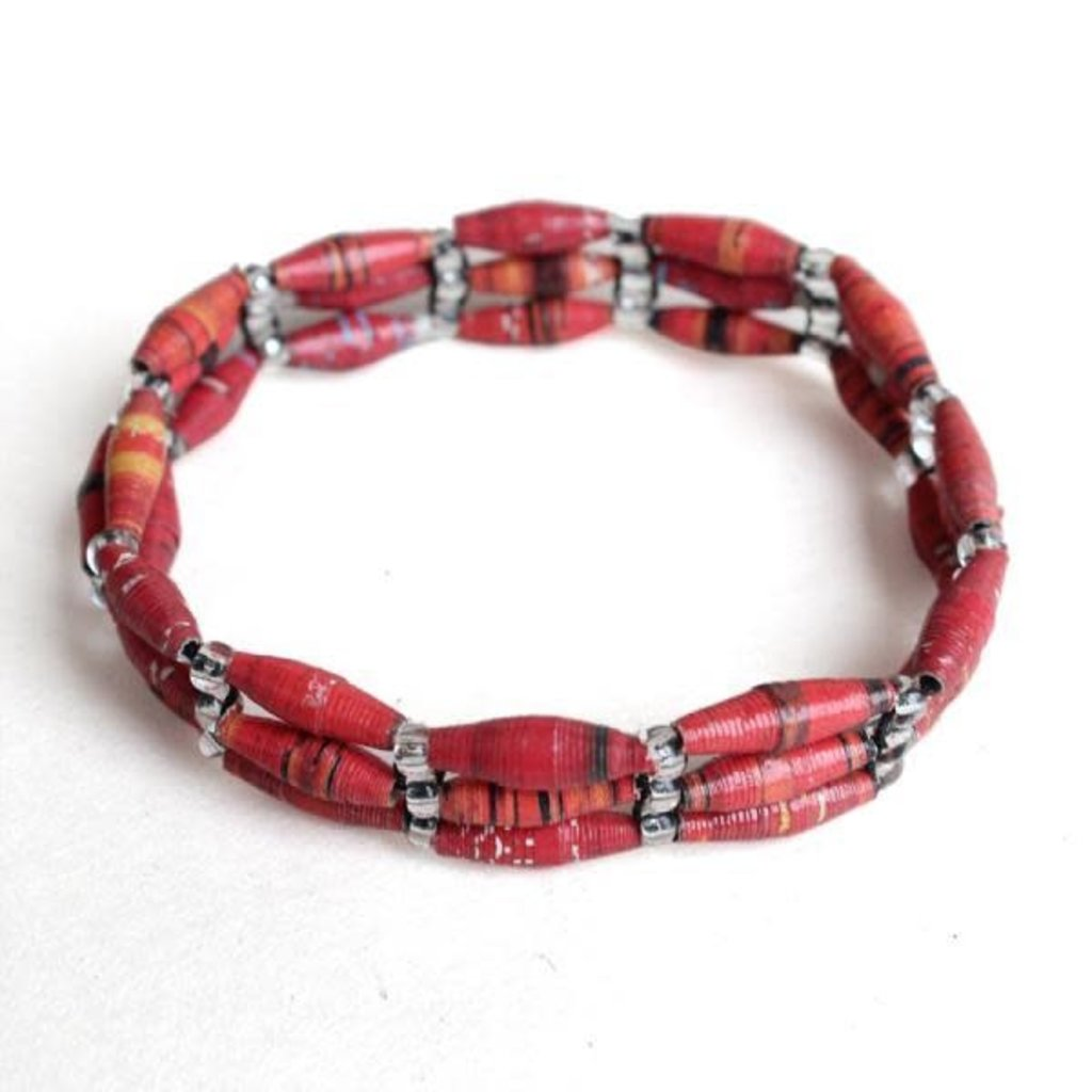 Imani Workshops 3-Strand Magazine Bracelet Red