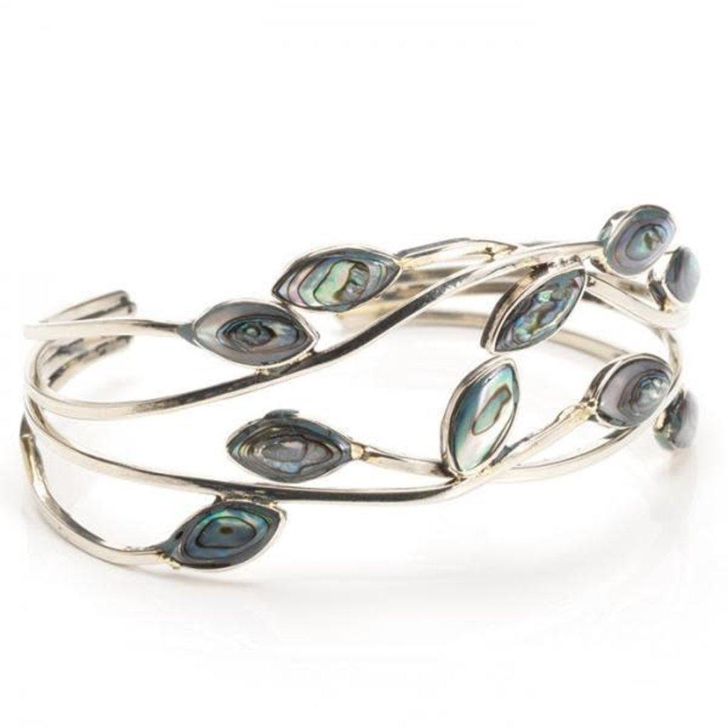 Serrv Abalone Leaf Alpaca Silver Cuff Bracelet