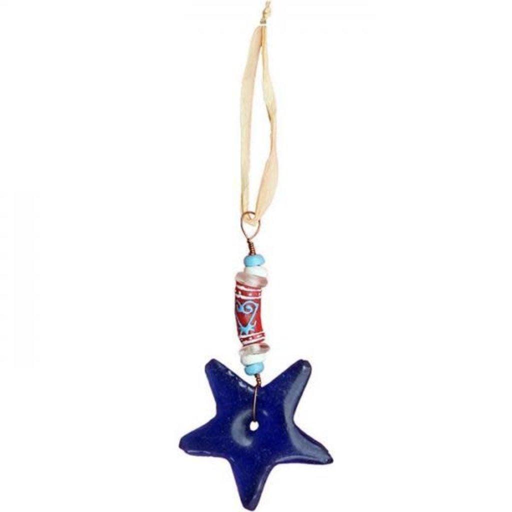 Global Mamas Adinkra Star Blue Sankofa Ornament