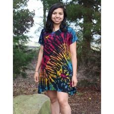 Unique Batik Ana Tie Dye T-Dress: Rainbow