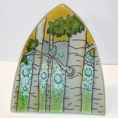 PamPeana Aspen Trees Fused Glass Night Light